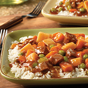 Chunky Beef with Vegetables Over Rice