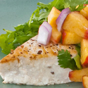 Seared Florida Swordfish Steaks with Arugula and Peach Salsa